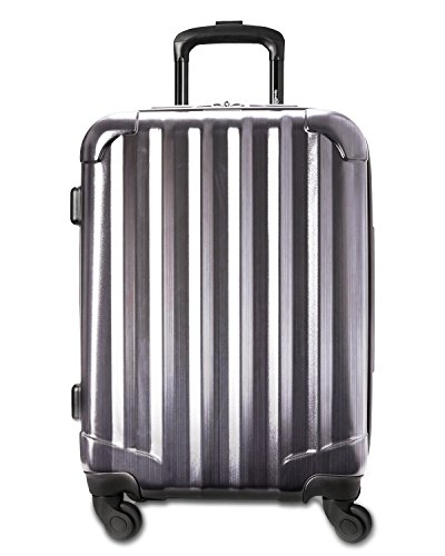 Genius Pack 21  Aerial Hardside Carry On Luggage Spinner   Smart  Organized  Lightweight Suitcase  Brushed Chrome