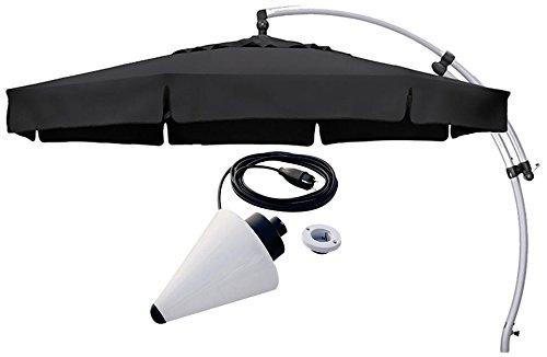Sun Garden Ampelschirm Easy Plus Durchmesser 350 cm, Bezug 100% Polyester anthrazit, Aluminiumgestell silber