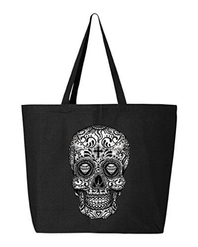 Shop4Ever Skull Black & White Heavy Canvas Tote Day of the Dead Reusable Shopping Bag 10 oz Black 1 Pack Jumbo]()