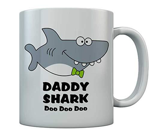 Daddy Shark Doo doo doo Coffee Mug For Father Gift For Daddy Birthday Mug 15 Oz. White