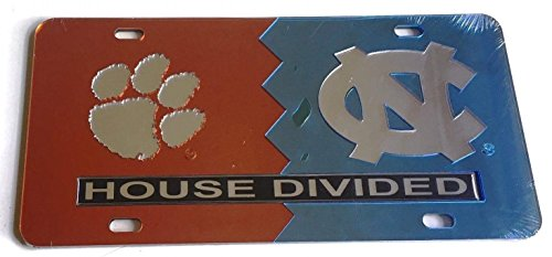The Sports Fan Store Clemson Tigers - UNC North Carolina Tar Heels - House Divided Mirrored Car Tag License Plate