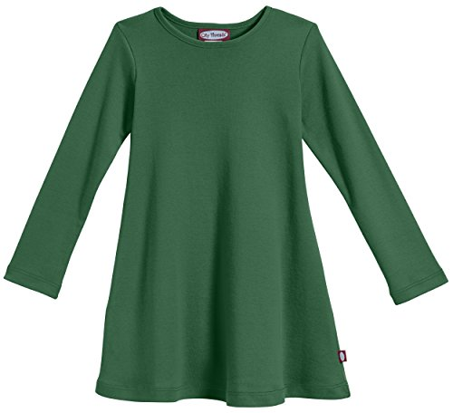 City Threads Big Girls' Cotton Long Sleeve Dress For School or Play For Sensitive Skin SPD Sensory Friendly, Forest Green, 8 by City Threads (Image #1)
