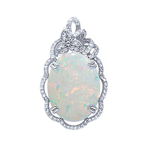 - Sterling Silver Oval Lab Created White Opal & Micro Pave Cubic Zirconia Pendant