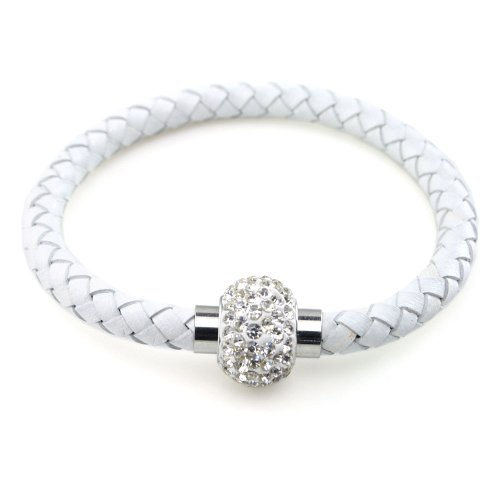 Genuine Braided Leather Handmade Bracelet Bangle with Rhinestones Crystal Fireball Stainless Steel Magnetic Clasp, Easy-to-wear (001 Crystal  White L…