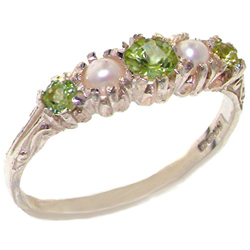 925 Sterling Silver Natural Peridot and Cultured Pearl Womens Band Ring – Sizes 4 to 12 Available