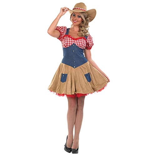 Womens Cowboy Costume Wild West Rodeo Western Cowgirl Dress - Small