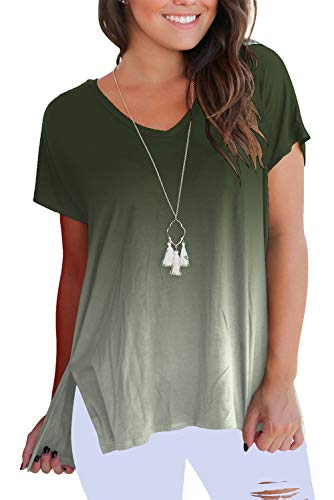 Womens Casual Short Sleeve Ombre V Neck T-Shirt Tops Green L