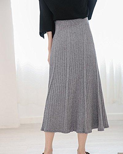 Line Ample Unie Haute Couleur En Jupe Casual Tricot Femmes Jupe A vas Tricot Confortable Longue Gris Taille fnHSwBwRxq