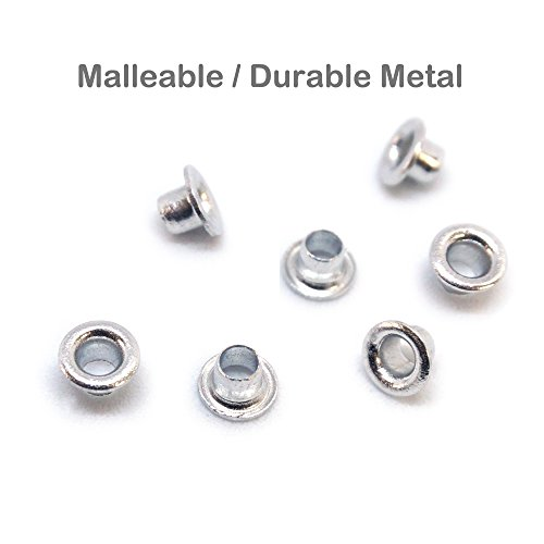 "FoRapid 3mm/1/8"" Silver Eyelets-Scrapbooking/Birthday Wedding Baby Greeting Holiday Card/Craft Projects/Custom Binding/Luggage Cruise Tag/DIY Album/Clothing etc-Work Great with Crop-A-Dile - 200 PCS"