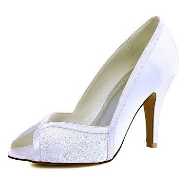 RTRY Las Mujeres'S Wedding Shoes Bomba Básica De Satén Stretch Primavera Verano Boda &Amp; Noche Conjunta Dividida Stiletto Talón Blanco Marfil 3A-3 3/4 Pulg. US9.5-10 / EU41 / UK7.5-8 / CN42