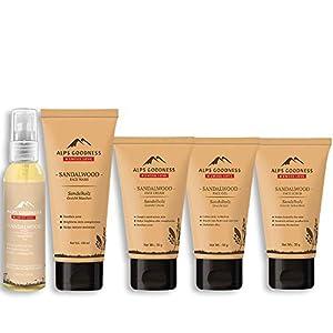 Alps Goodness Sandalwood Skin Care Combo – Full Face Care Sandalwood (Chandan) Combo – Face Wash, Cream, Gel, Toner…
