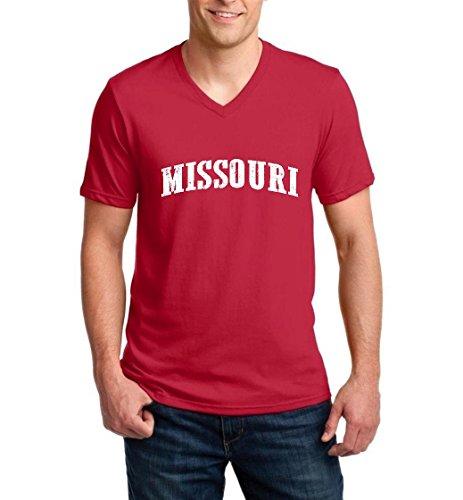 Ugo MO Missouri Flag Jefferson Kansas Map Tigers Home University of Missouri Ringspun Men V-Neck T-Shirt