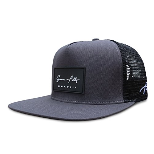 Grace Folly Trucker Hat for Men & Women. Snapback Mesh Caps Charcoal Gray