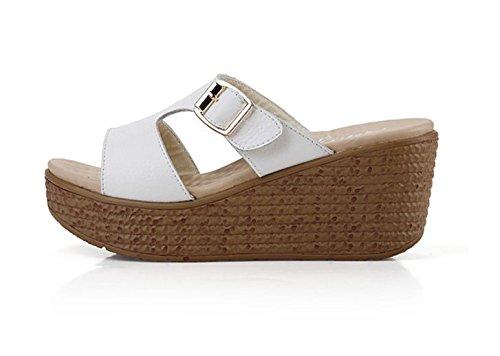 pendenza Da scarpe spessa AJUNR Elegante rilasciare pantofole bianco pan con 39 6cm Donna trascinare e di Moda Alla svago spagna Sandali 37 5qOBx8qwf