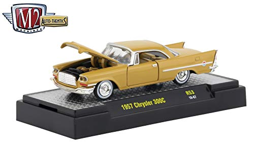 (M2 Machines 1957 Chrysler 300C (Champagne Gold) Auto-Thentics Series Release 53 - Castline 2019 Premium Edition 1:64 Scale Die-Cast Vehicle & Custom Display Case (R53 18-67))