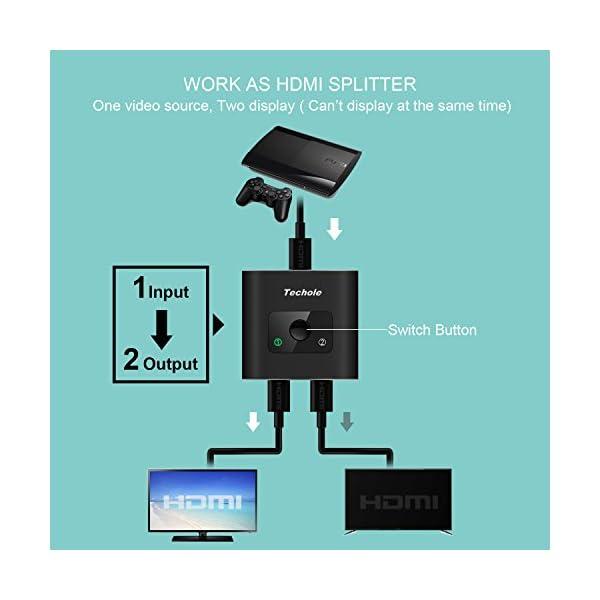Techole HDMI Switch (Aggiornato), Alluminio Switch HDMI Bidirezionale 2 Ingressi 1 Uscita o 1 Ingresso 2 Uscite… 4 spesavip