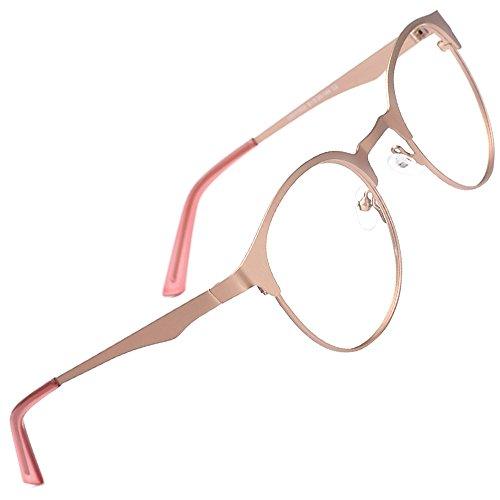 Eyeglasses Frame Rose - TIJN New Round Designer Metal Eyeglasses Frames with Clear Lens (Rose Gold, Transparent)