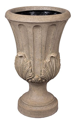 BirdRock Garden Roman Acanthus Urn - Aged Granite | Indoor Outdoor Planter Urn by BirdRock Home
