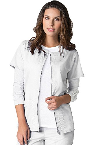 (Maevn EON Back Mesh Panel Short Sleeve Zip Front Jacket (Medium, White))