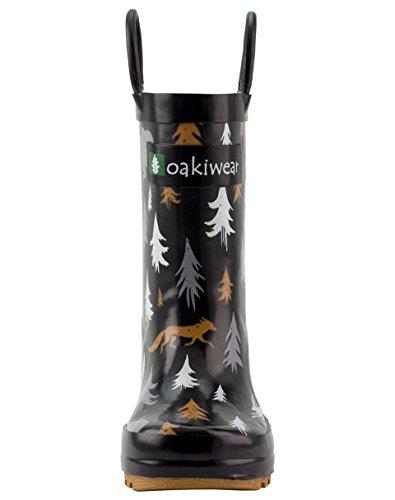 Oakiwear Kids Rubber Rain Boots With Easy-on Handles, Wildlife Tracker, 4Y US Big Kid - Image 3