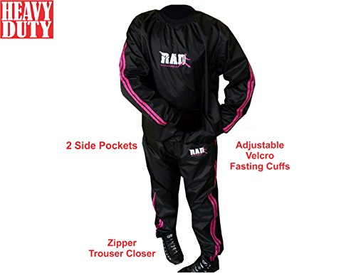 RAD Sweat Suit Sauna Exercise Tracksuit Fitness Weight Loss Slimming Boxing Gym Pink (Pink, Medium)