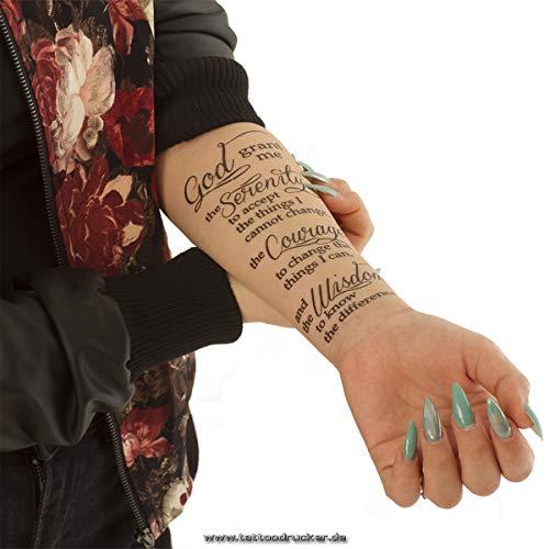 5 x Serenity Prayer - Serenity Prayer - Black Tattoo Lettering - God grant me to - Prayer Tattoo