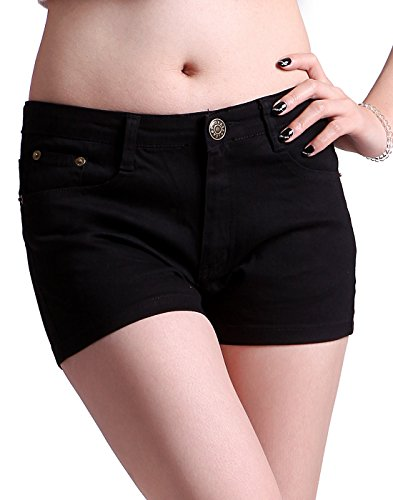HDE Women's Solid Color Ultra Stretch Fitted Low Rise Moleton Denim Booty Shorts (Black, Small) (Jean Shorts For Teens)