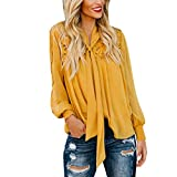 Kaitobe Womens Fashion Long Sleeve Tops Lace Tie Up Knot Hollow Loose Tunic Blouse Tops Sweatshirt Pullover Yellow