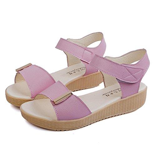 Sandalen__Elecenty Elecenty Sandalen Damen Sommer Schuhe,Schuh Damenschuhe Sommerschuhe Shoes Sandaletten Frauen Flache Keilabsatz Offene Elegante Bequeme Freizeitschuhe Strandschuhe Rosa
