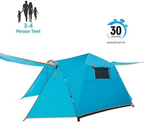 ポータブル防水ポップアップテントポーチキャンプテント2層3〜4人2層家族テントアウトドアハイキング
