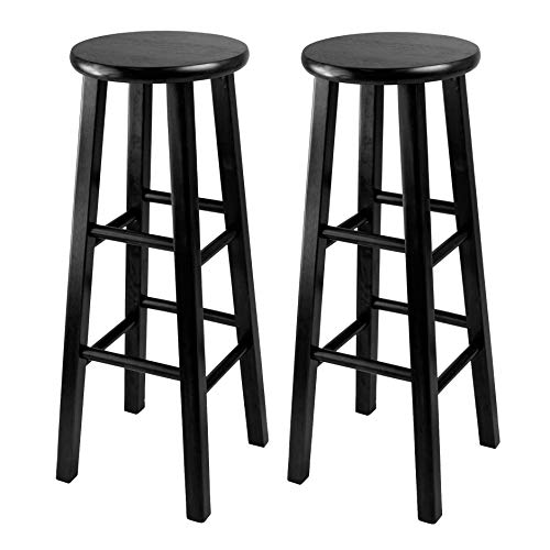 (Winsome 29-Inch Square Leg Bar Stool, Black, Set of 2)