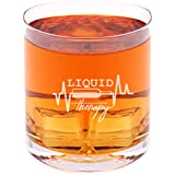 Liquid Therapy - Funny Novelty Whisky on the Rocks Glass with Coaster and Gift Box - 11 oz - Present for Dad Boyfriend Husband Friend Men Birthday Fathers Day Christmas