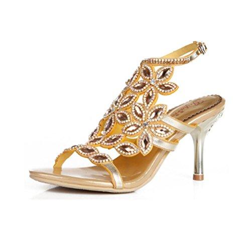 QPYC Señoras caladas zapatos de diamantes de imitación Sandalias de tacón fino de diamantes de cristal Tacones altos de gran tamaño sandalias de hebilla 43 44 golden (fine with)