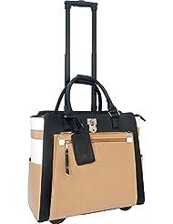 Cabrelli Laura Lock Rolling Briefcase -Black/Taupe/White