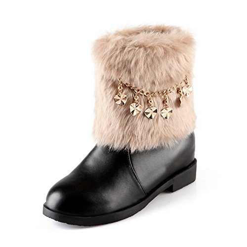 A&N Womens Metal Chain Fur Ornament Square Heels Black Imitated Leather Boots - 5 B(M) US