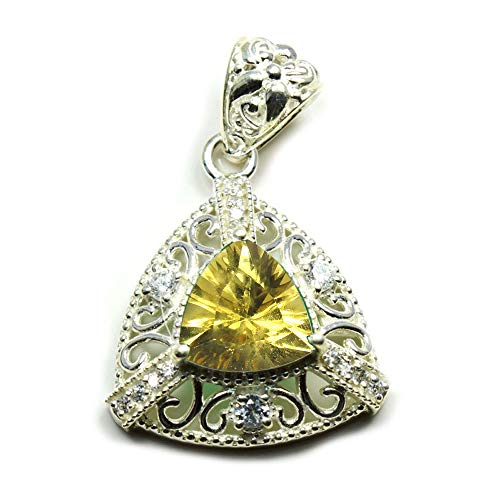 Cut Citrine Trillion Pendant - 55Carat Choose Your Color Trillion Cut Natural Stone Sterling Silver Pendants for Jewelry Making Handmade