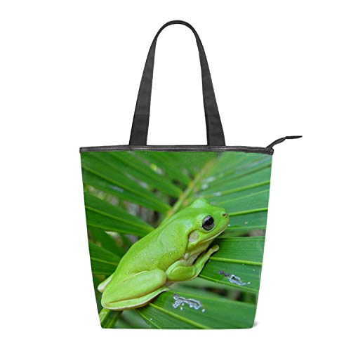 - Womens Canvas Bag Hobo Bag Animal White Lipped Tree Frogs Green Large Tote Messenger Shoulder Purse with Zipper Casual Work Travel Bags