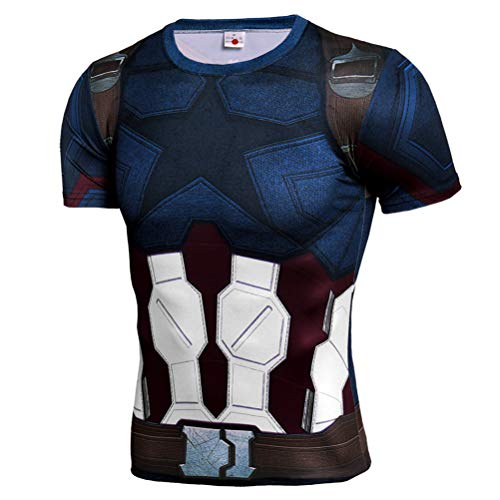 Mens Quick Dry Captain America Costume Shirt Short Sleeve Compression Shirt 2XL]()