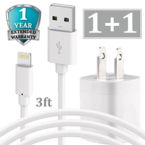 iPhone Chargig Kit, Pack of 3FT USB Data Sync Cable Charging Cord with Cube Wall AC Charger Brick Power Adapter Plug Compatible with iPhone Xr Xs X Max 8 7 6 5 SE Pad Pro Mini Air - White ()