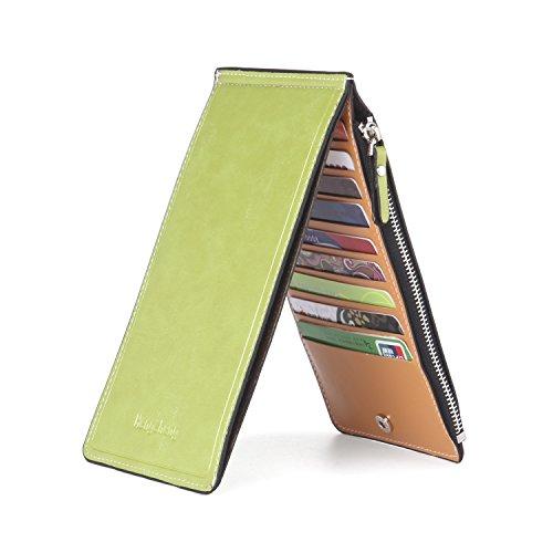 Noedy Womens Thin Multi Card Case Organizer Wallet with Zipper Pocket Green