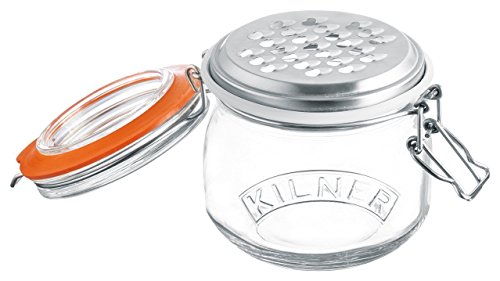 Kilner Glassware Grater Jar Set, 17-Fluid (Cheddar Cheese Storage)