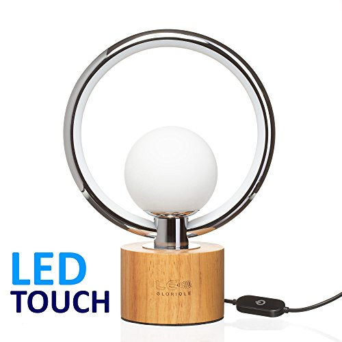 Modern LEDGloriole Desk Lamp with Unique Shade – Bedroom Lamps with Natural Wooden Base – Luxury Bedside Table Lamp – Well-Designed LED Light Perfect for Bedroom or Office by LEDGloriole (Image #7)