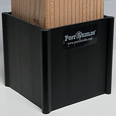 "Post Shields (3.5"" x 3.5"" X 4"" High Black): Protects mailbox and fence posts from grass trimmer damage"