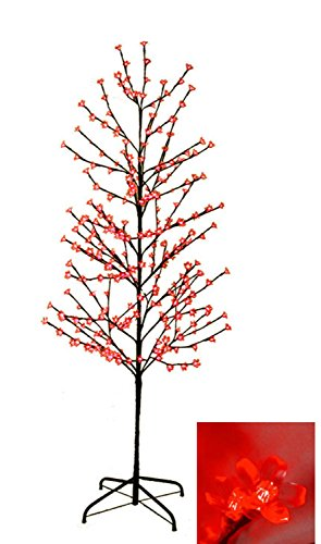 6' Enchanted Garden LED Lighted Cherry Blossom Flower Tree - Red Lights by LB International