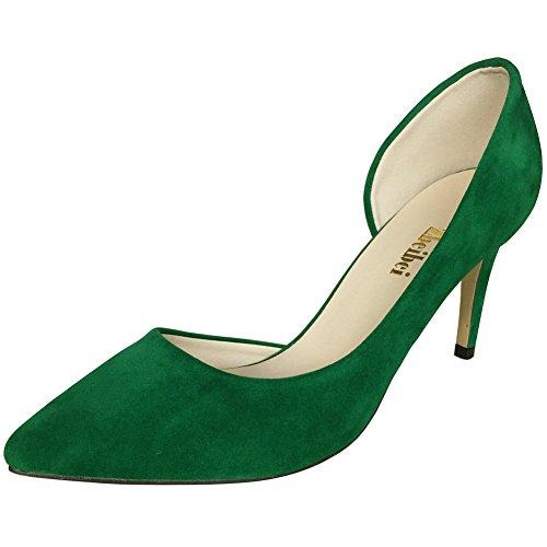 Suede Shoes Wedding Bridal Thin High Heel Pumps Dress Dethan Womens OL Green Evening Leather Pointed Toe Party Club 5w1aq1U