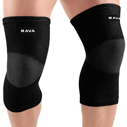 Mava Sports Knee Support Sleeves (Pair) for Joint Pain & Arthritis Relief, Improved Circulation Compression - Effective Support for Running, Jogging, Workout from Mava Sports