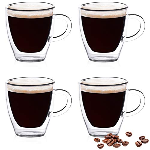 (Eparé Espresso Glasses - 2oz Single Shot - Double Walled Demitasse Cups - Mini Mug Shots Set - Be Your Own Home Barista)