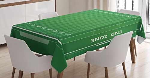 Ambesonne Football Tablecloth, Field of The Game Strategy Tactics End Zone Touchdown Sports Competition Theme, Dining Room Kitchen Rectangular Table Cover, 60 W X 90 L Inches, Green - Football Table Field