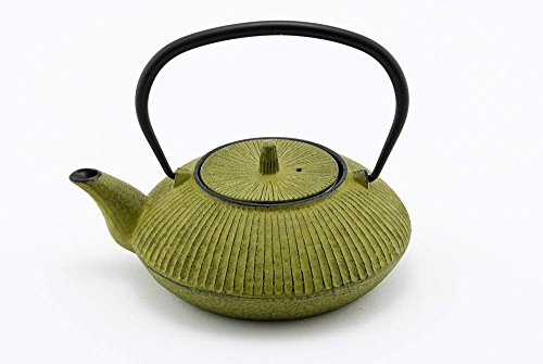 Tetsubin Green Cast Iron Teapot - Hinomaru Collection Artisan Workshop Japanese Tetsubin Tea Kettle Cast Iron Teapot with Stainless Steel Infuser Green 20 oz