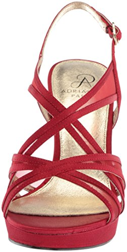 Womens Papell Adrianna Satin Red Wedge Sandals RanBTgn